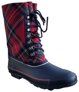 Burberry Red Tartan Wool and Black Leather Boots
