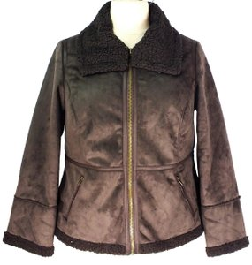 Jessica London Bomber Faux Shearling Brown Leather Jacket