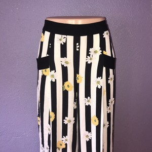 Elevenses Anthro Anthropologie Daisy Daisies Floral Wide Leg Pants Black