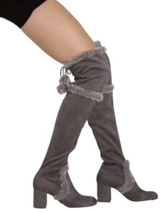 Charles by Charles David Faux Fur Trim Block Heel Round Toe Pompoms Adjustable Top Slate Boots