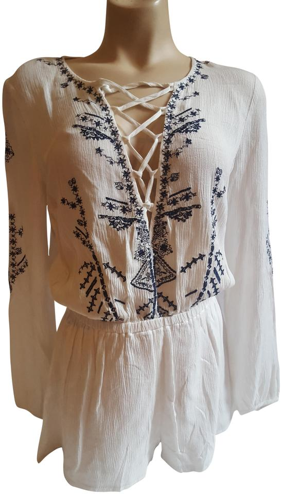 bc848af1477 L ATISTE White Navy Blue Lace Up Embroidered Romper Jumpsuit - Tradesy