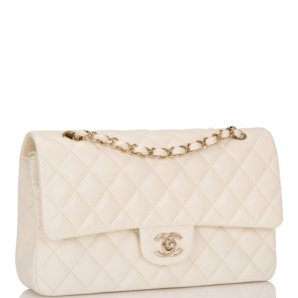 1b7ca6c318d Chanel Classic Flap Shiny Quilted Caviar Medium Classic Double White ...
