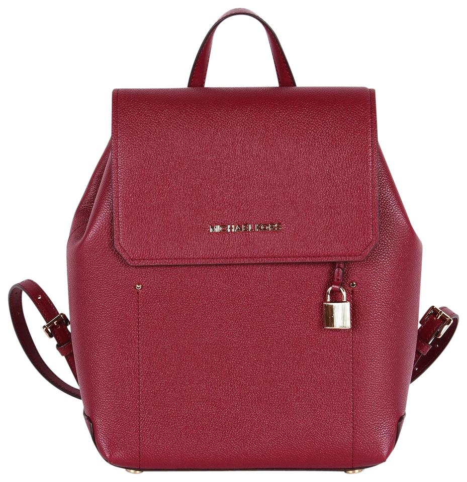 3012e35cfe4 Michael Kors Hayes Medium Size Red Mulberry Leather Backpack - Tradesy