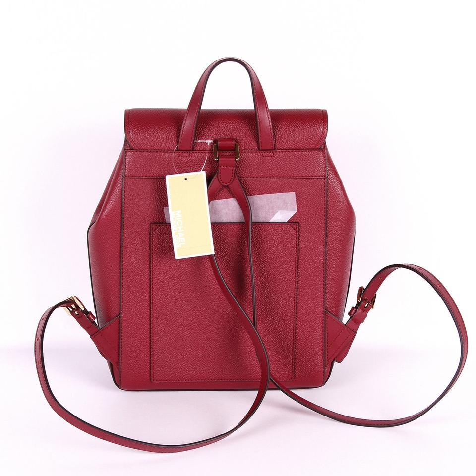2438eb25fc07 Michael Kors Hayes Medium Size Red Mulberry Leather Backpack - Tradesy