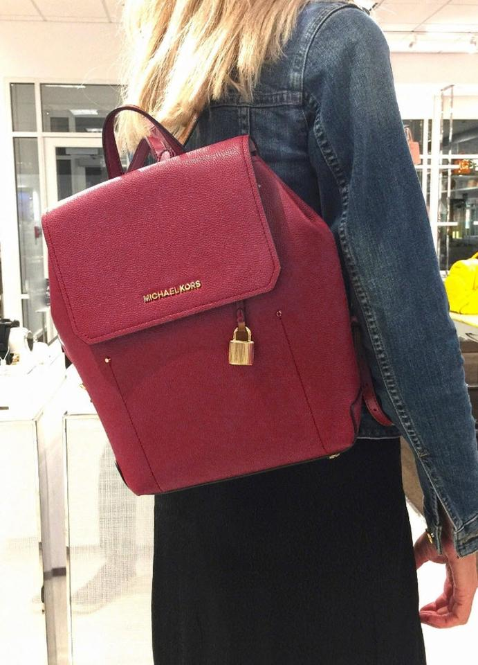 1a1d4bf702e588 Michael Kors Hayes Medium Size Red Mulberry Leather Backpack - Tradesy
