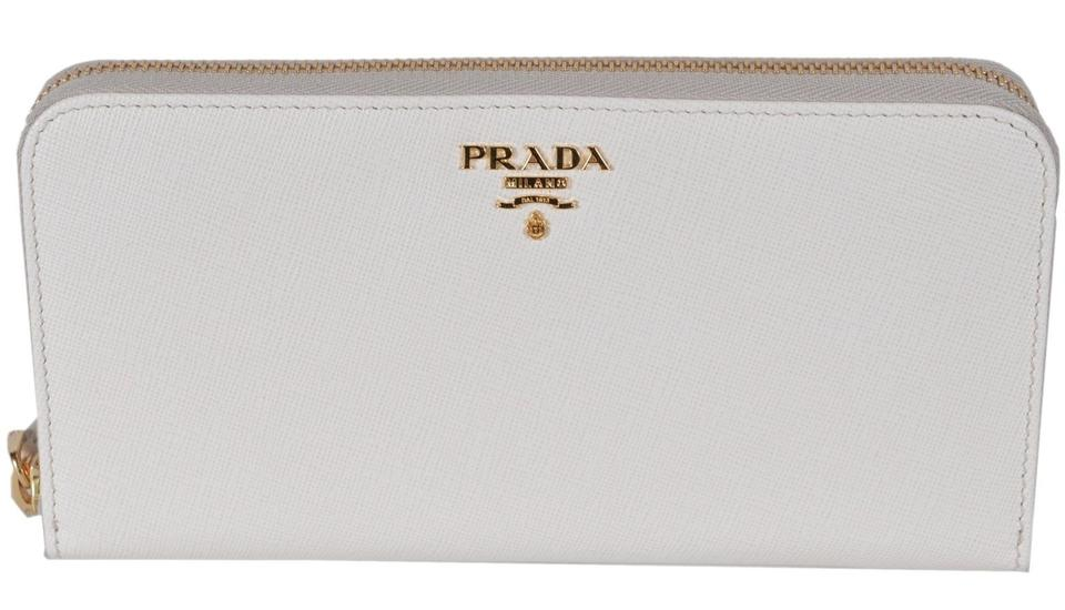 wholesale dealer f1715 3629d Prada Ivory New 1ml506 2d93 Latte Cream Leather Zip Around Wallet