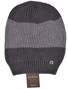 Gucci New Gucci Men's 310777 Grey Wool Colorblock Interlocking GG Beanie Hat