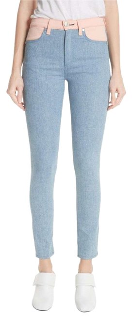 Item - Blue Pink Blush High Waisted Color Block Skinny Jeans Size 4 (S, 27)