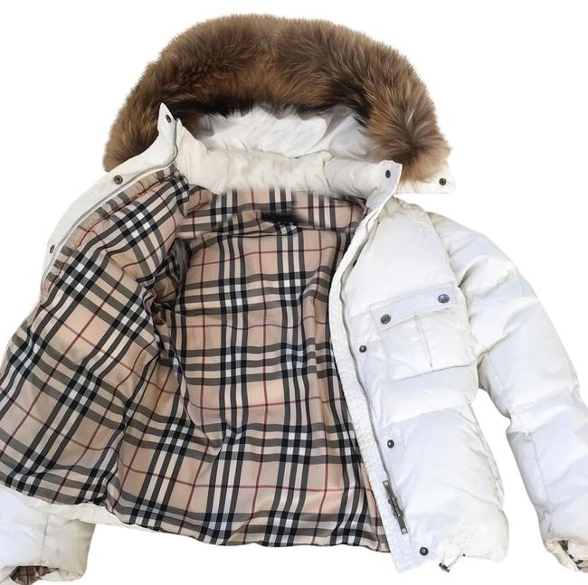 Item - Winter White Down Puffer Jacket with Detachable Fur Hood Coat Size 4 (S)