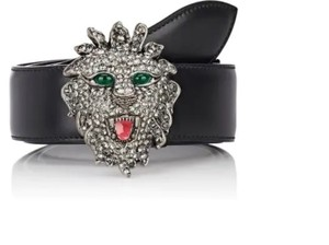 Gucci NEW GUCCI men black leather belt with crystal lion head buckle -95-38