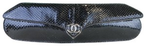 Chanel Python Leather Black Clutch