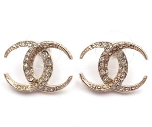 Chanel Chanel Dubai Gold CC Moonlight Crystal Piercing Earrings