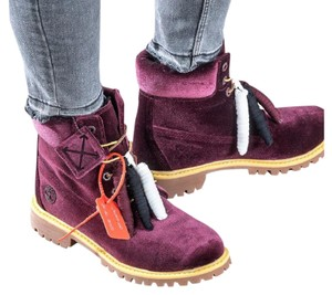 Timberland Limited Edition Off-white X Velvet Burgundy Boots
