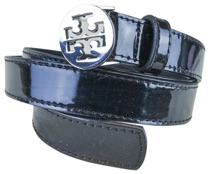 Tory Burch Tory Burch Black Patent Leather Silver T Logo Women's Belt SALE!