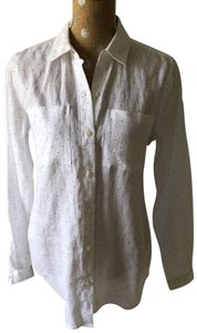 Lord & Taylor Button Down Shirt White with black pin dots
