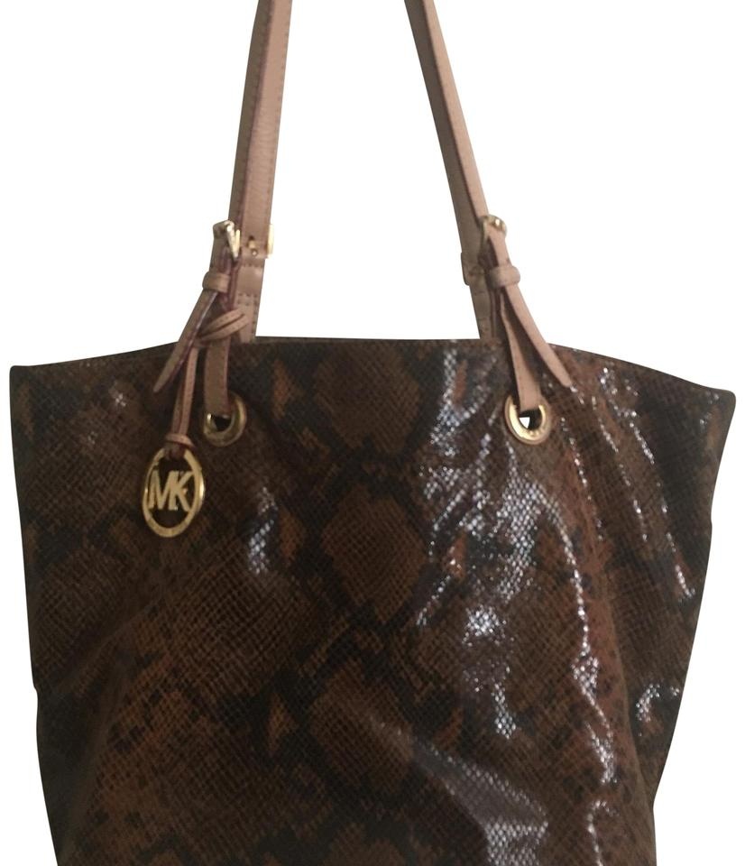 3e26dca573e4 Michael Kors Snake Skin Brown Leather Tote - Tradesy