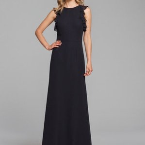 Hayley Paige Collections Black Chiffon 5863 Modest Bridesmaid/Mob Dress Size 14 (L)