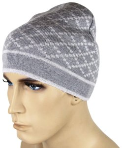Gucci Gucci Gray Unisex Wool Beanie Hat with Diamante Pattern 281600 1463