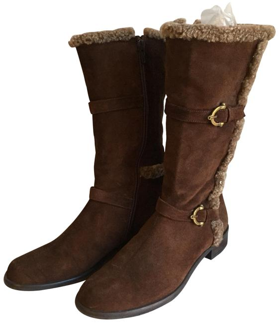 Item - Brown Mid Calf Suede Foux Fur Boots/Booties Size US 6.5 Regular (M, B)