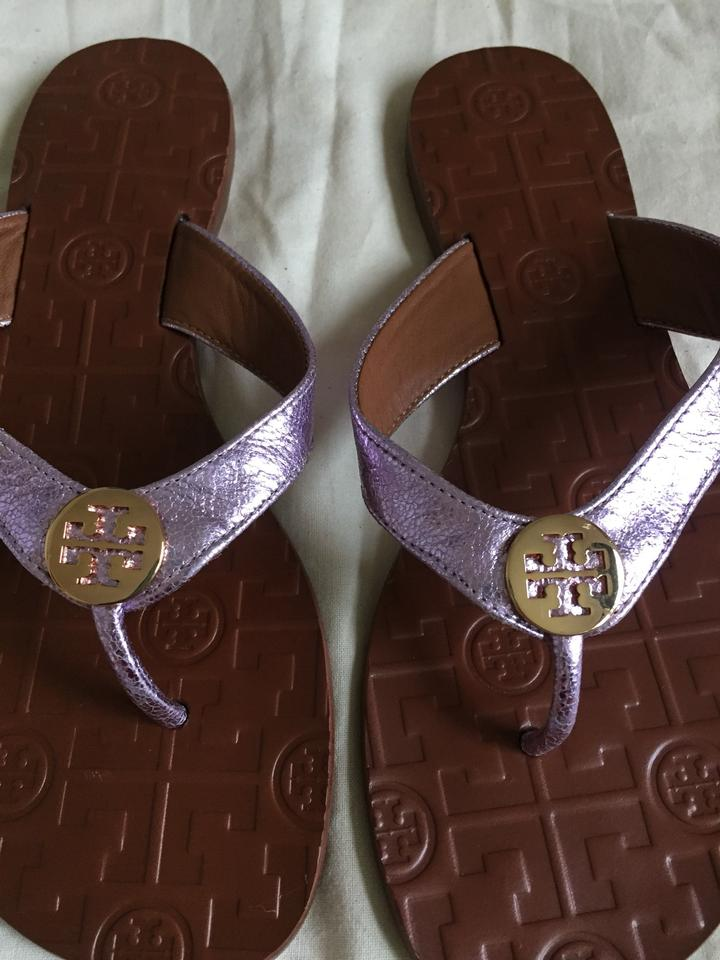 3f740bb2423a Tory Burch Metallic Rosa Thora Reverse Leather Sandals Size US 7 Regular  (M