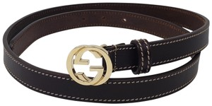 Gucci Brown leather Gucci GG logo buckle hip belt