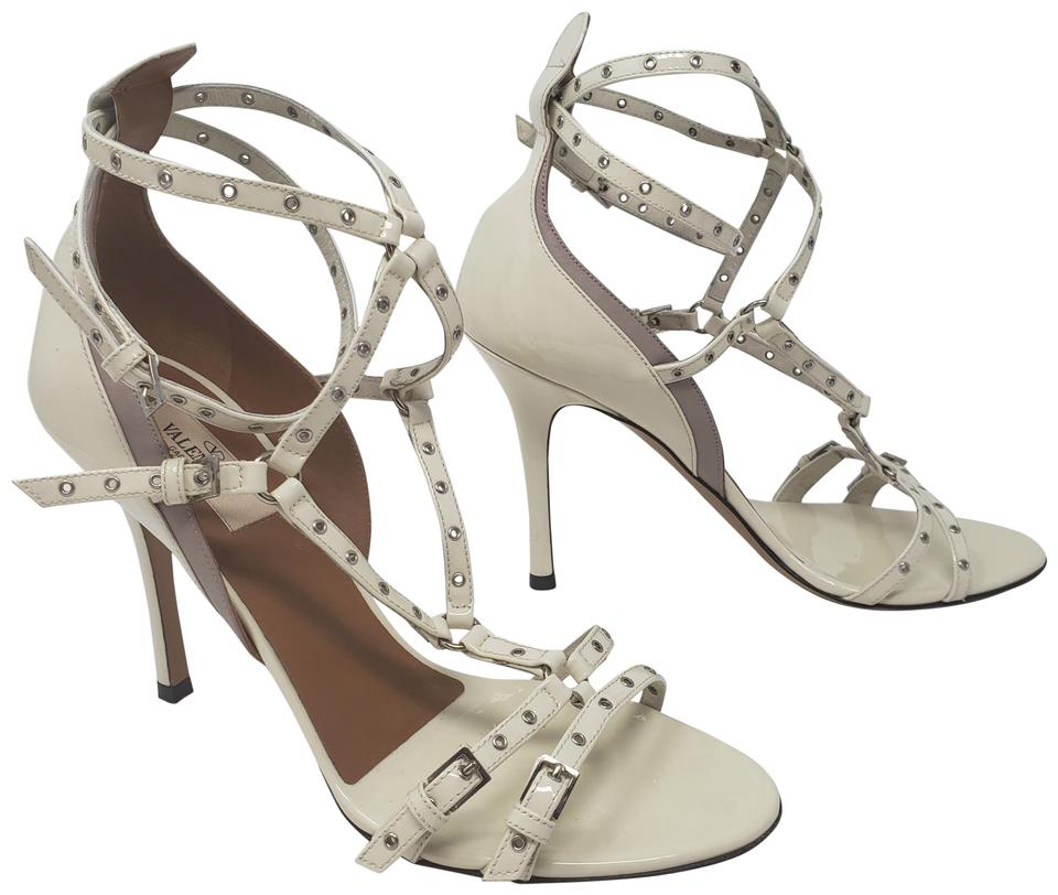 3bfc1c1ce311 Valentino Studded Rockstud Silver Hardware Gold Hardware Strappy White  Sandals Image 0 ...