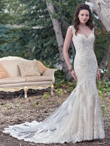Maggie Sottero Ivory Over Lt Gold Tulle Collins By Midgley Vintage Wedding Dress Size 10 (M)