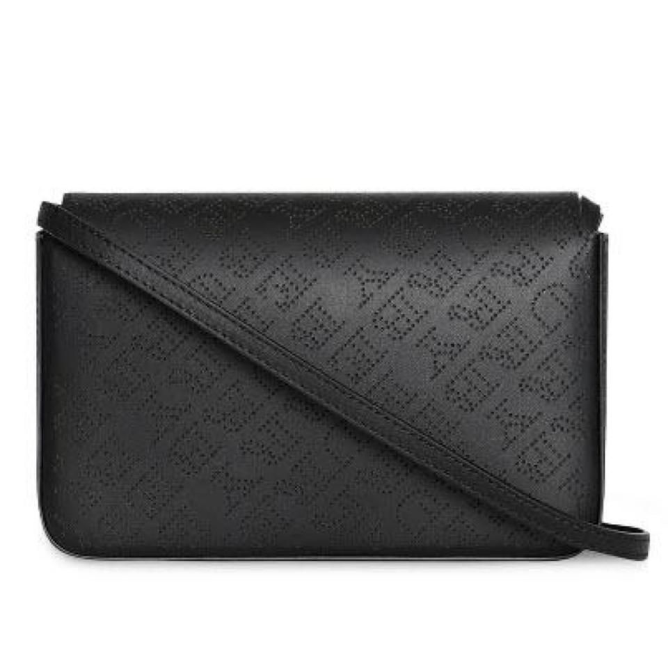 Burberry Perforated Logo Chain Wallet with Detachable Strap Black ... dc1a9eb2090c6