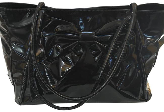 Item - Bag Bow Style Black Patent Leather Tote