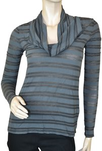 James Perse Cowl Neck Striped Cozy Longsleeve Usa Made Top Gray
