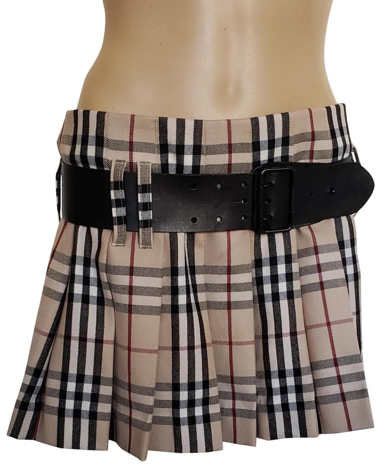 f35a6183fd Burberry Belted Gold Hardware Nova Check Plaid House Check Mini Skirt Beige,  Image 0 ...