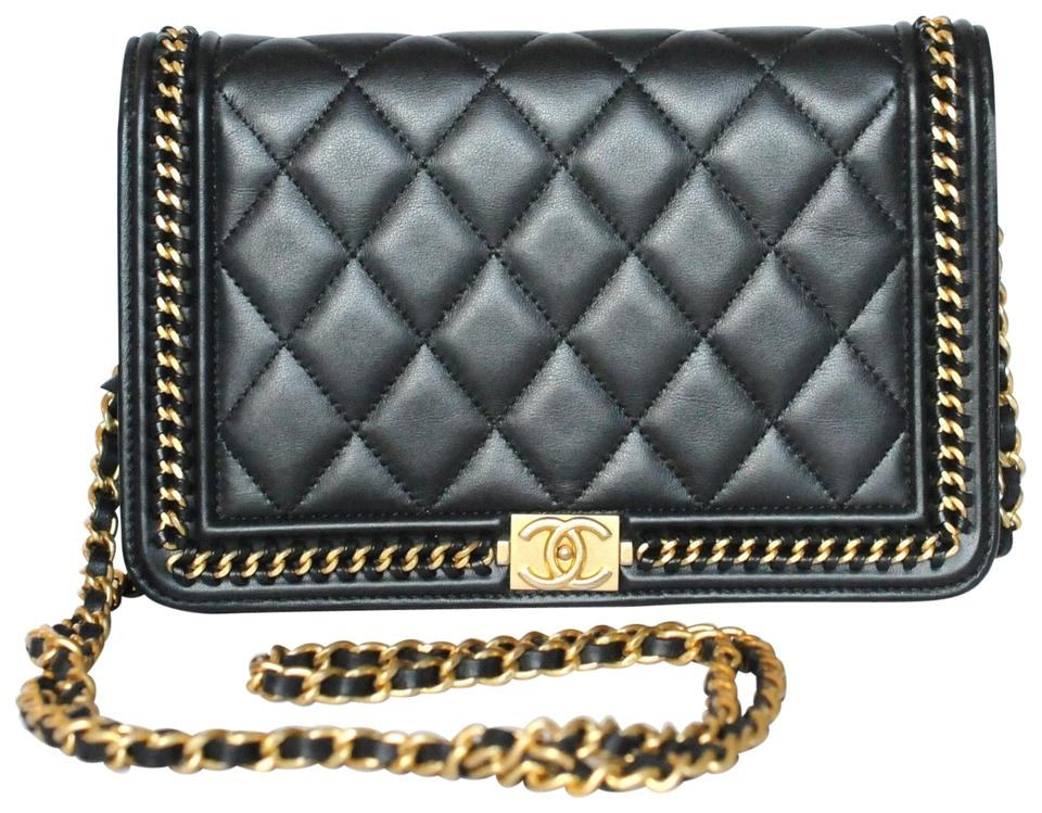 f0bc84b105ee98 Chanel Boy Wallet on Chain Quilted Gold Le Woc Black Calfskin ...