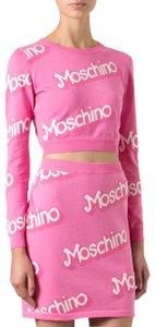 Moschino Monogram Logo Letters Knit Embroidered Mini Skirt Pink