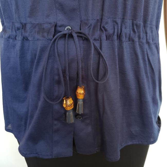 bc79c717 Gucci Blue Logo Embellished Buttons Belted Button-down Top Size 4 (S ...