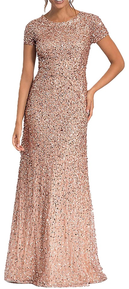 c681cea9df6 Adrianna Papell Rose Gold Short-sleeve All Over Sequin Gown Formal Dress.  Size  0 ...