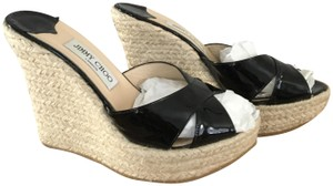 Jimmy Choo Phyllis Wedge Black Sandals