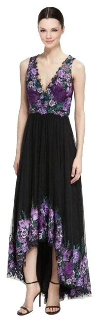 Item - Black & Purple High-low Tulle with Flora Long Formal Dress Size 4 (S)