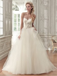 Maggie Sottero Ivory/Lt Gold Tulle Aracella By Midgley Traditional Wedding Dress Size 12 (L)