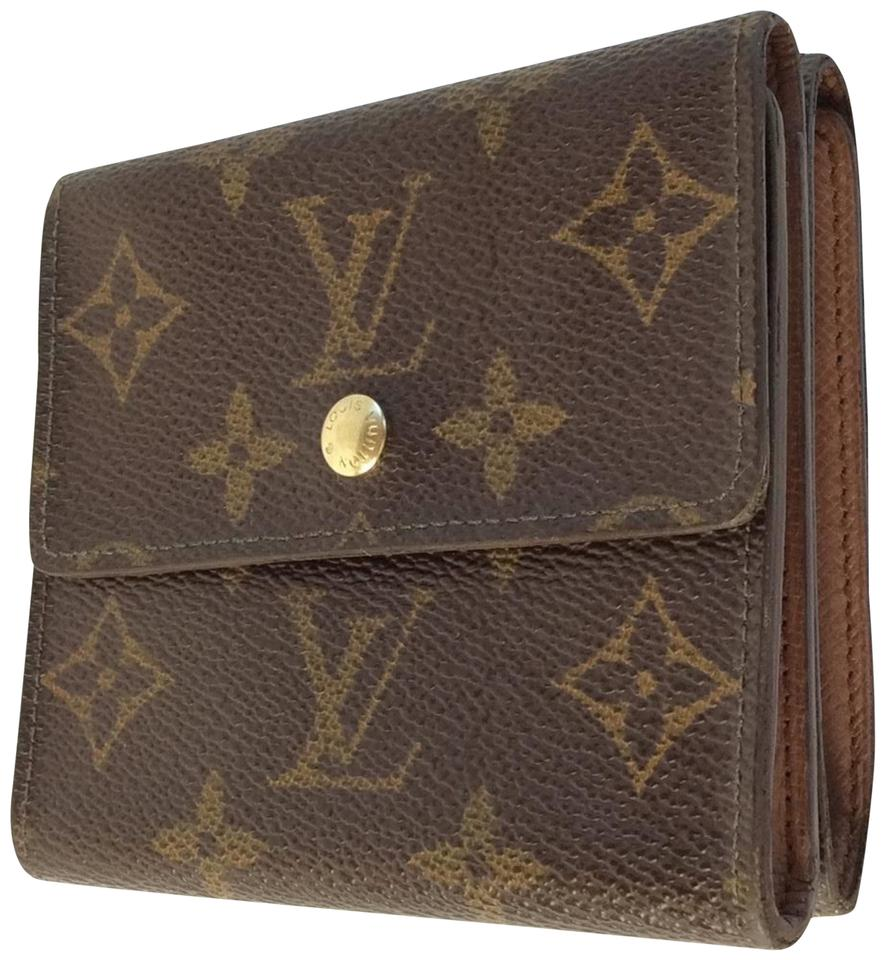 8923737377f5 Louis Vuitton Brown Monogramed Canvas Elise Double Snap Wallet - Tradesy