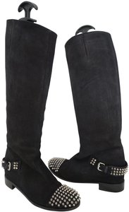 Christian Louboutin Spiked Studded Suede Knee High Black Boots
