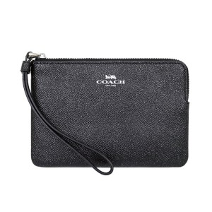 Coach Crossgrain Leather Smooth 191202193512 Wristlet in Black Glitter