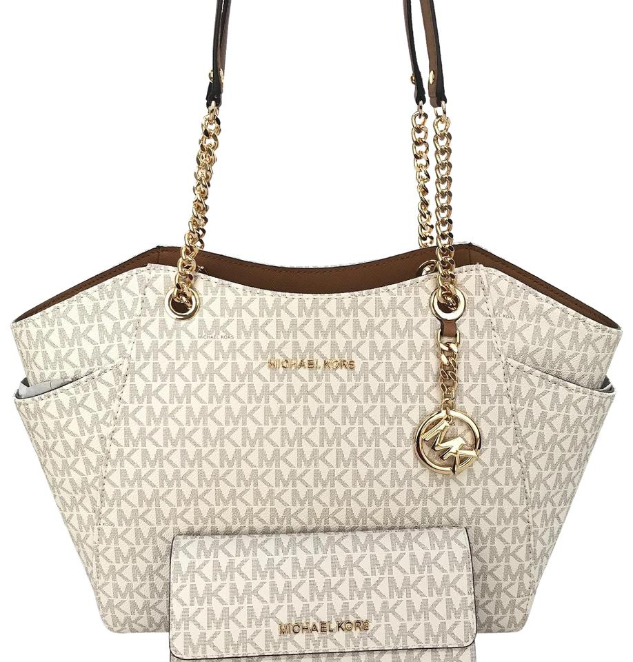 d6c71491dbd9 Michael Kors Jet Set Travel Large Chain and Matching Wallet Vanilla ...