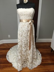 Maggie Sottero Ivory/Light Gold/Gold Sash Alencon Lace & Satin Karena Royale S5229 Feminine Wedding Dress Size 20 (Plus 1x)