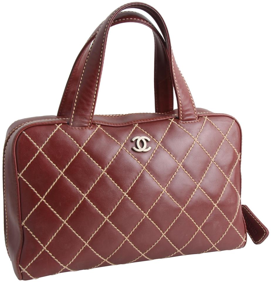 c0d00c238b56 Chanel Bag Lambskin Surpique Wild Stitch Burdundy Calfskin Leather Tote