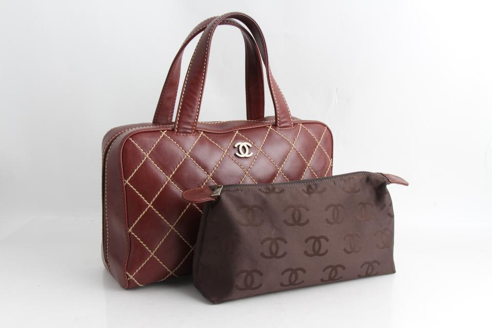 a23365bc5131 Chanel Bag Lambskin Surpique Wild Stitch Burdundy Calfskin Leather ...