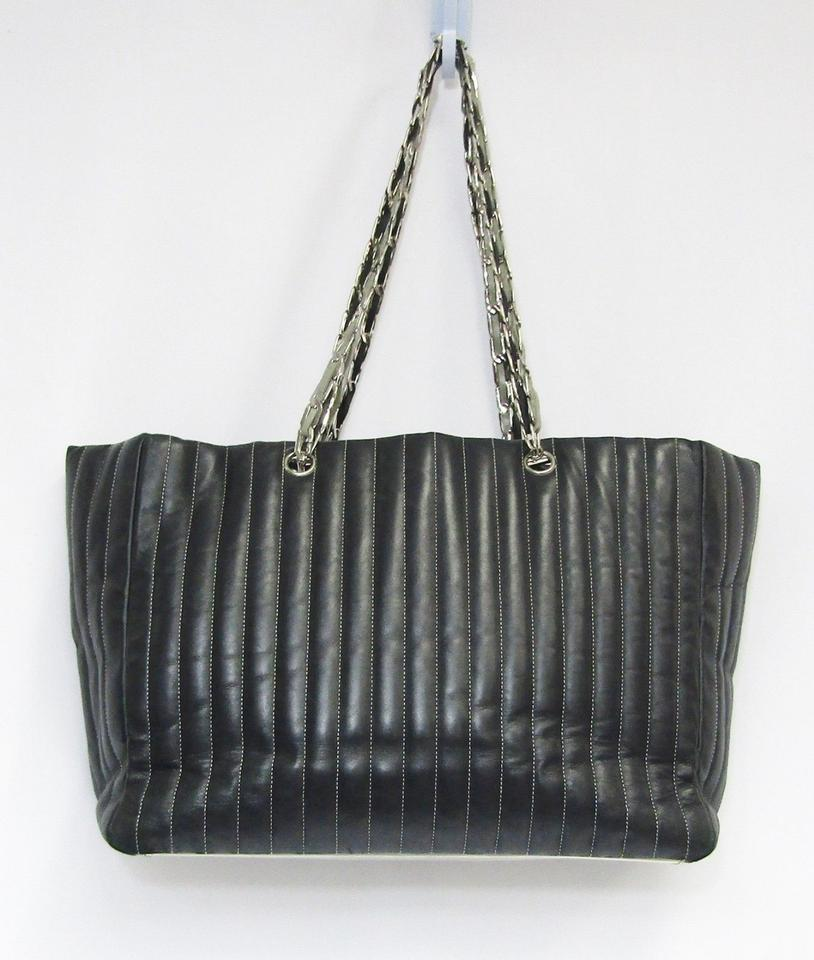 c1b96537a9cb Chanel Mademoiselle Vintage Lambskin Vertical Quilted Large Black Leather  Tote