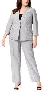 Le Suit Le Suit Pinstriped Pantsuit Black/White Plus Size 18W 20W