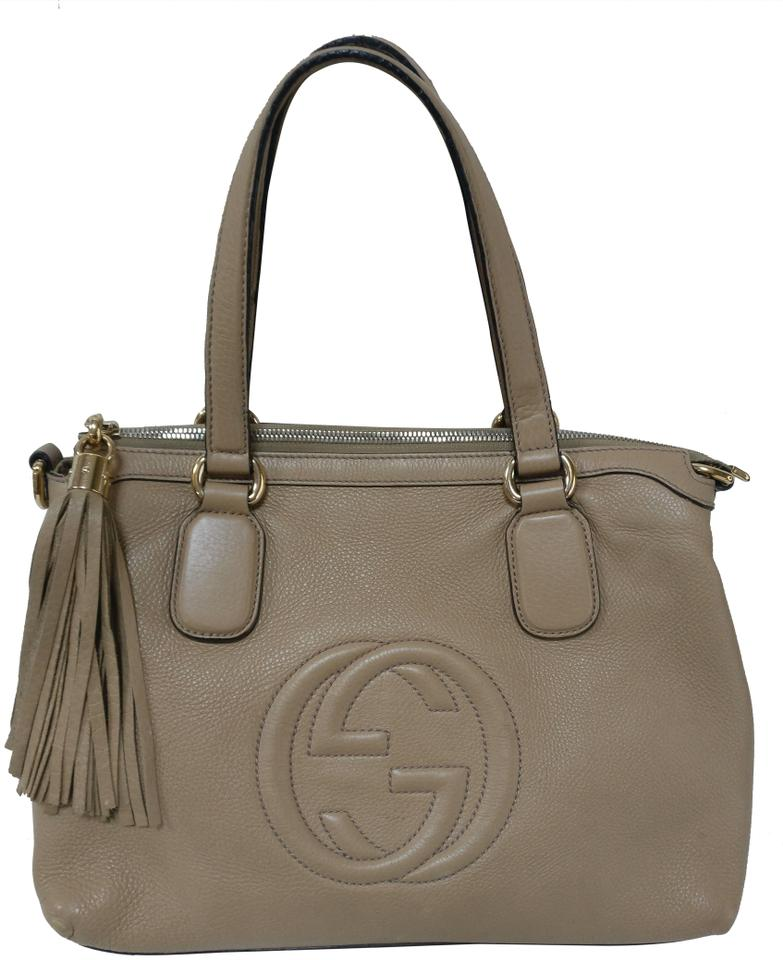 6b4c00064a5 Gucci Soho Top Handle Satchel Beige Leather Tote - Tradesy
