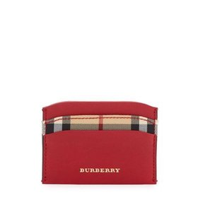 Burberry BURBERRY HORSEFERRY CHECK IZZY BLACK LEATHER CARD CASE WALLET