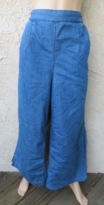 GU Slit Palazzo Size Large Chambray Easy Fit Wide Leg Pants Blue